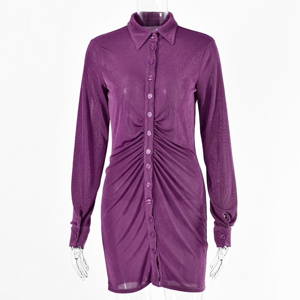 FANTOYE Pleated Turn-Down Collar Button Blouse Dress Women Sexy Long Sleeve Mini Dresses Solid Streetwear Female Shirt Vestidos 7