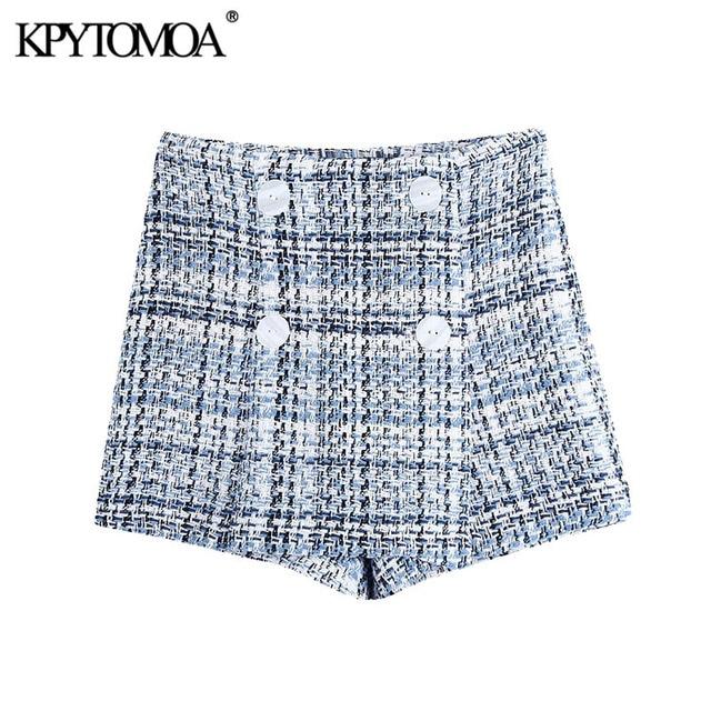KPYTOMOA Women 2021 Chic Fashion With Buttons Tweed Bermuda Shorts Skirts Vintage High Waist Side Zipper Female Skorts Mujer 1