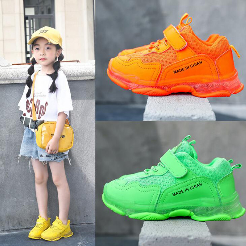 Candy Colors Kids Sneakers Bright Children Shoes Girls Sport Running Shoes Fashion 2019 Autumn Boys Shoes Yellow, Orange, Green