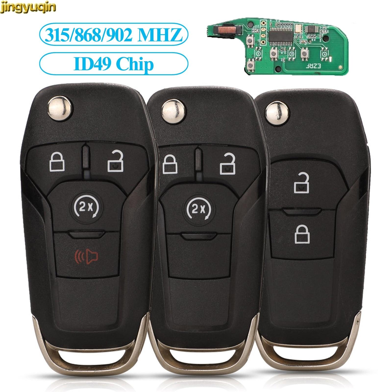 Jingyuqin Remote Car Key Control 315/868/902 Mhz ID49 Chip For Ford Fusion 2013-2015 HU101 2/3/4 Button Folding Keyless Entry