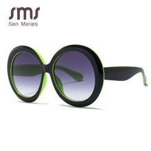 Sen Maries-gafas de sol redondas para mujer, anteojos de sol femeninos de diseño Vintage de marca, montura oversize en color negro y verde, con protección UV400