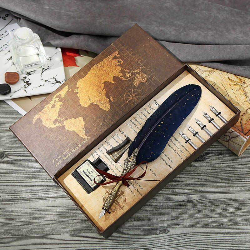 Juego de plumas estilogr/áficas Vintage de Vobor Juego de plumas de pluma europeo Azul