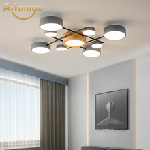 New Design LED Ceiling Lamp For Living Room Novelty Gray Ceiling Round Lampshades Metal Lustres Bedroom Lighting cheap AITAMYU 10-15square meters Kitchen Dining room Bed Room Foyer Study Bathroom 90-260V Wedge Aluminum Wood None LED Bulbs