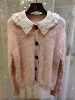 Fashion women Cardigan Sweaters 2020 Winter Runway Luxury European Design Single Breasted party style women White / Pink Sweater
