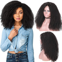 Afro Kinky Curly Lace Front Human Hair Wigs Brazilian Virgin Left Part 13x4 Lace Front Wig Pre plucked 250 Density Lace Wig