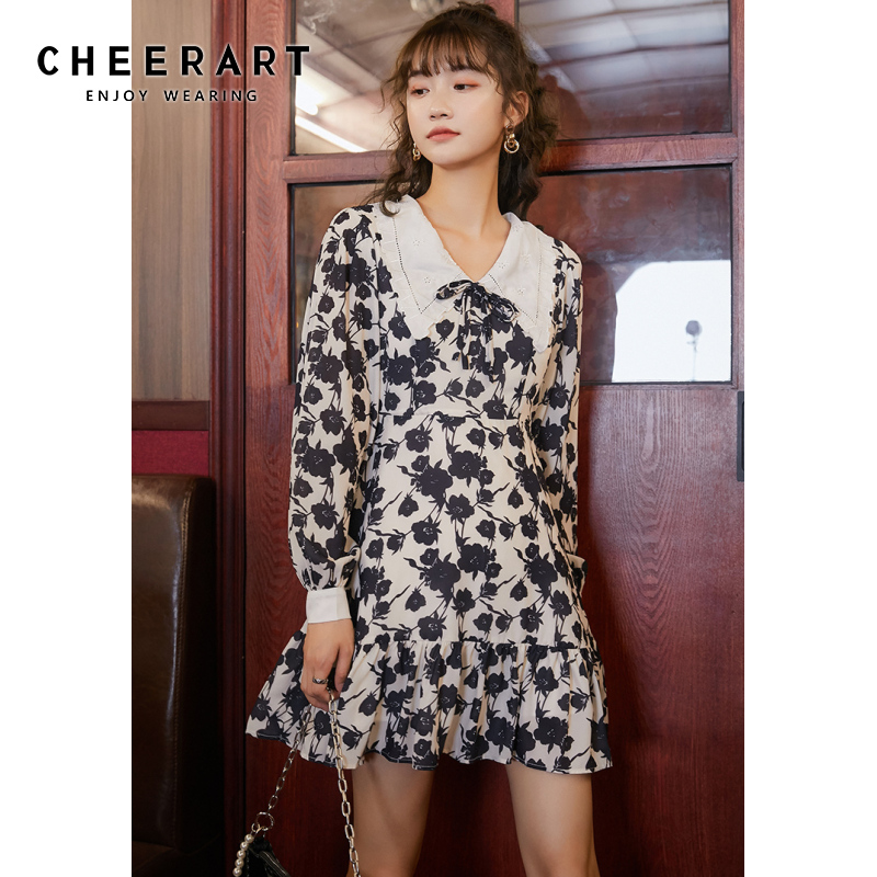 CHEERART Vintage Floral Print Ruffle Mini Dress Women Long Sleeve Puff Sleeve Collar A Line Tie Neck Korean Dress 2021 Spring