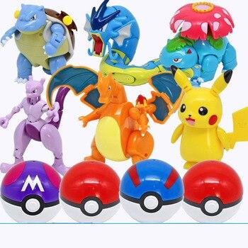 Action Morphing Pokeballs Transformation Toys For kids PIKACHU Charizard Mewtwo Blastoise Venusaur Gyarados Pocket Monster Toys