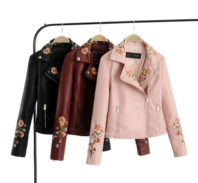 Women's winter Europe and America Slim   leather   coat flower embroidery collar pu   leather   short zipper jacket female autumn Wild
