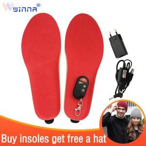 Image 1 - Лучший подарок; Новое поступление; Теплые стельки с электрическим подогревом для женщин и мужчин; Зимние ботинки с толстой стелькой и мехом; Европейские размеры 35 46 #