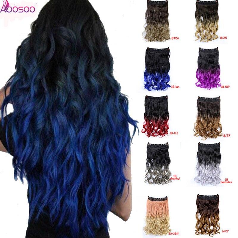 Pinces à cheveux synthétiques d'ombre à hautes températures de cheveux de dames bleues pourpres noires ondulées longues pour l'extension de cheveux