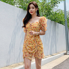 Summer dress 2020 Boho floral print dress women sexy lace up bow yellow dress female clothes party dress vestidos DA565(China)