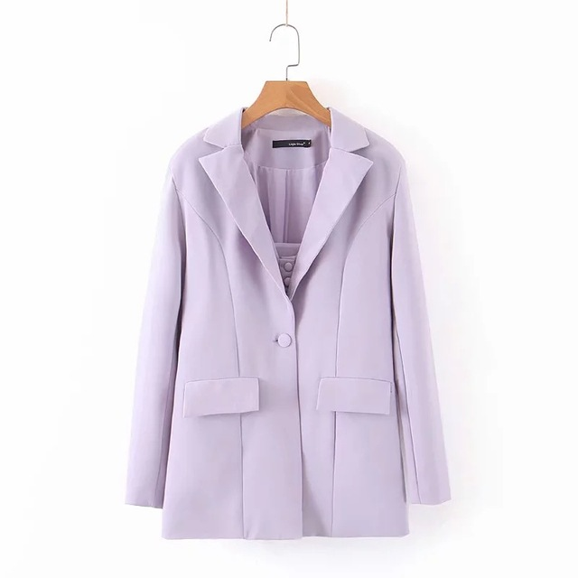 Купить oforest elegant women blazer set 3 pieces purple coat tank with картинки цена