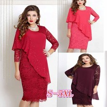 BGW Elegant Solid Color O-Neck 3/4 Sleeve Red Cocktail Dress Split Joint Chiffon