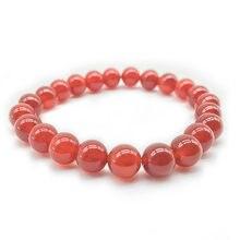 Pedra natural carnelian redondo grânulos vermelho agat charme energia pulseira para mulher para presente 6mm 8mm10mm 12mm 14mm
