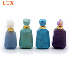 Natural turquoises amethysts gems perfume essential oils bottle agates druzy caps pendant with stick for necklace jewelry making