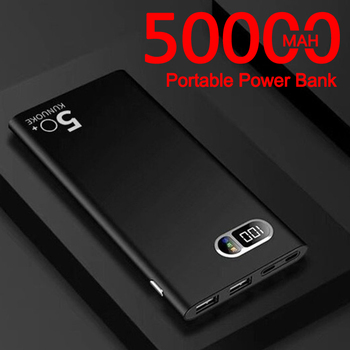 Power Bank 50000mAh Portable Ultra-thin Phone Charger Fast Digital Display Outdoor Travel Powerbank for Xiaomi Samsung IPhone 1