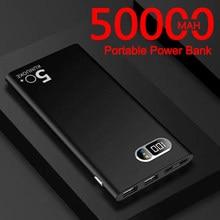 Banco de potência 50000mah portátil ultra-fino carregador de telefone rápido display digital viagem ao ar livre powerbank para xiaomi samsung iphone