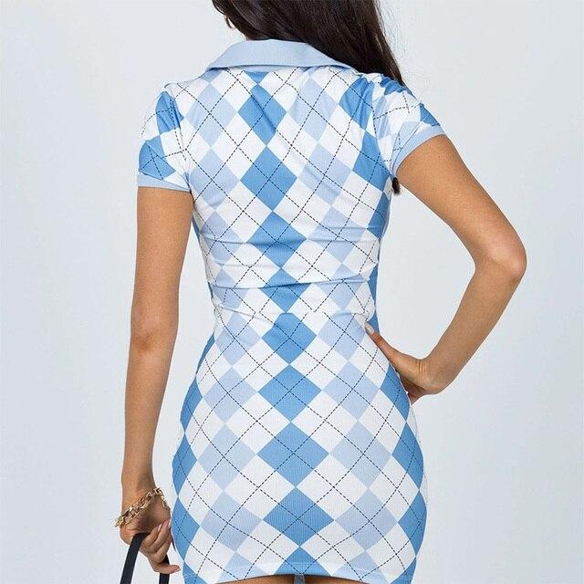 2021 Plaid Print Short Sleeve Summer Dresses Women Argyle Y2K E Girl Clothes Turn Down Collar Vintage Button Mini Dress 4