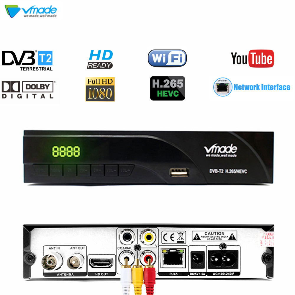 Vmade DVB-T2 HD Digital Terrestrial Receiver Support H.265/HEVC AC3 RJ45 Network DVB-T Hot Sale Europe Russian Czech Republic