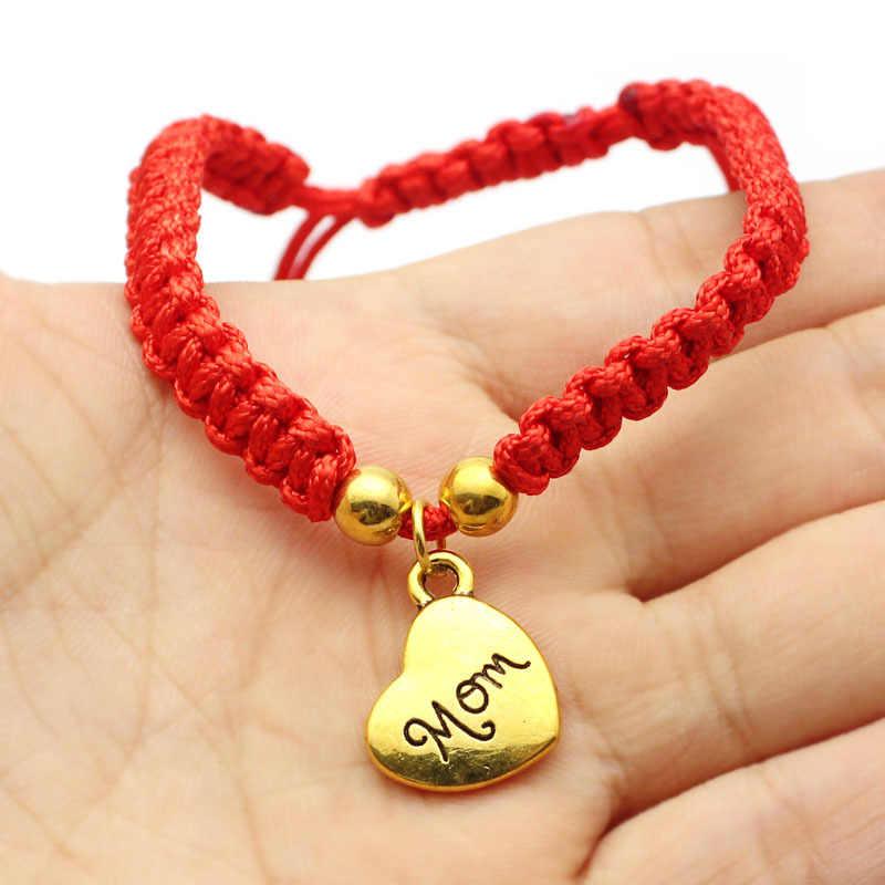 חם מזל זהב צלב לב צמיד לנשים ילדי אדום מחרוזת מתכוונן בעבודת יד צמיד DIY תכשיטים