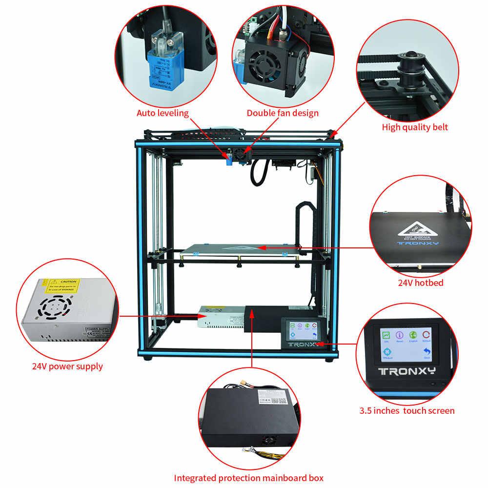 TRONXY طابعة ثلاثية الأبعاد X5SA برو/X5SA-400/X5SA 24 فولت حجم الطباعة الكبيرة خارج السلطة إعادة لمس الشاشة السيارات مستوى آلة ثلاثية الأبعاد PLA خيط ABS