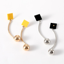 2019 Fashion Square Geometry Gold Long Earrings Silver Retro Female Tassel Jewelry