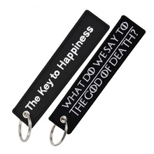 The key to happiness embroidery keychains for motorcycles and cars WHAT DO WE SAY TO THE GOD OF DEATH Fashion keyrings llaveros