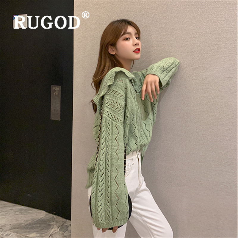 RUGOD Navy Collar Sweater Women 2019 Solid Long Sleeve Knitted Pullovers Korean Style Loose Sweaters Casual Lady Trui Dames