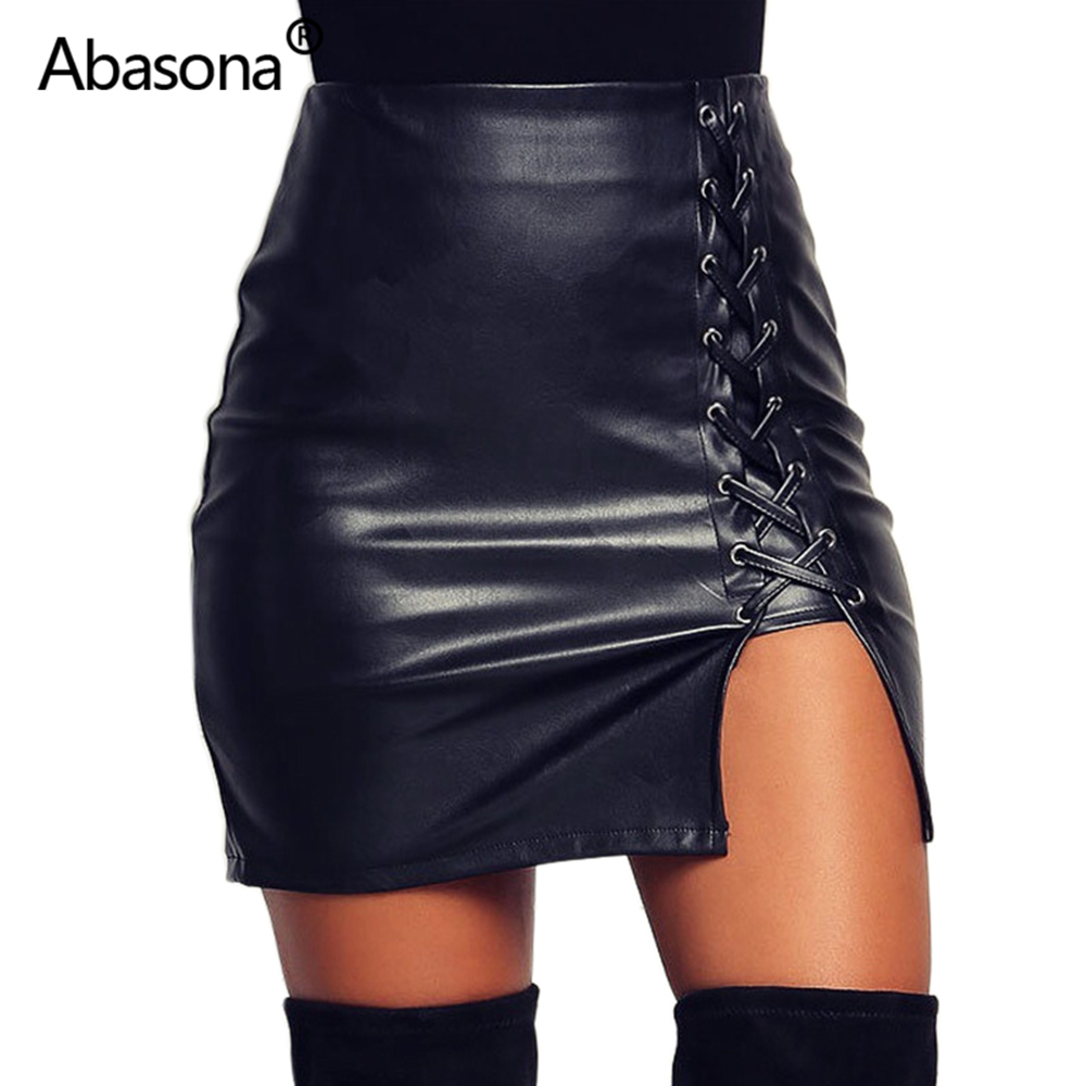Abasona Black High Waist Leather Pencil Skirt Women Zip Lace Up Slit Plus Size Tight Streetwear Sexy Bodycon Mini Skirts Womens