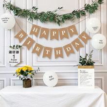 Gelukkige Verjaardag Decoratie Kraftpapier Banner Witte Ballon Decoratie Verjaardag Party Bunting Garland Baby Shower Benodigdheden
