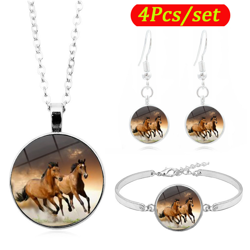 Hot Sale <font><b>2019</b></font> Horses Art Photo Glass Cabochon Fashion Women <font><b>Jewelry</b></font> <font><b>Set</b></font> Silver Necklace Bracelet Earring <font><b>Jewelry</b></font> <font><b>Sets</b></font> image