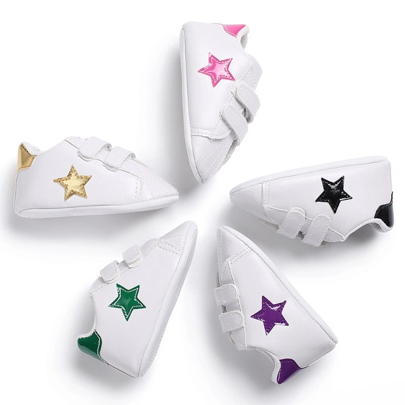 White Baby Shoes Boy Girl Solid PU Striped Sneaker Comfort Shoes New Newborn Infant First Walkers Casual Crib Moccasins