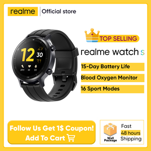 В наличии realme часы S smartwatch 15-дневная Срок службы батареи Водонепроницаемый глобальная версия для отображения данных по содержанию кислорода в крови 16 спортивных режимов частота сердечных сокращений