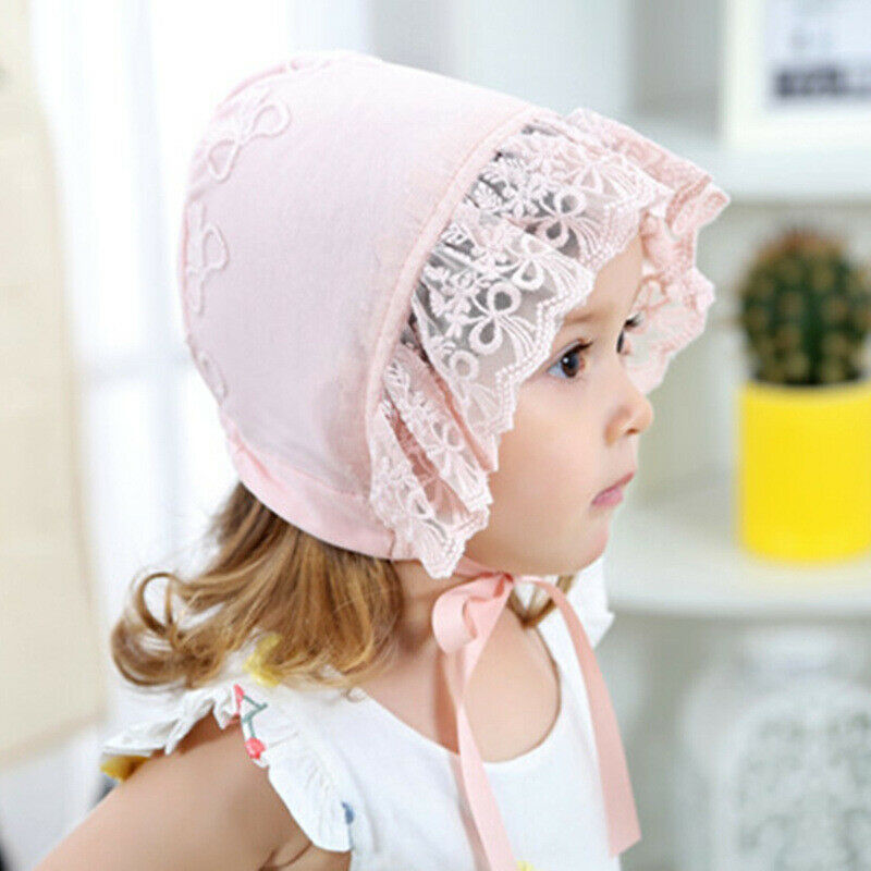 Newborn Baby Girls Princess Birthday Lace Bowknot Flower Hat Cap Beanie Bonnet