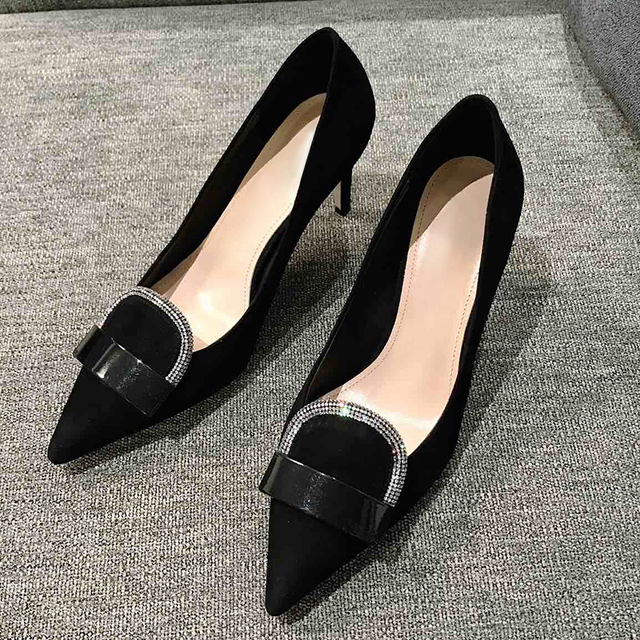 Luxury Dress High Heels Pumps Spring Autumn Brand Design Slip on Women Shoes Shallow Mouth Female Pumps With Crystal