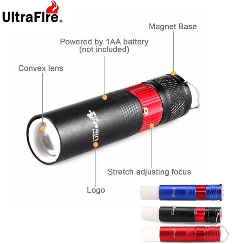 Ultrafire With Magnet White / Red / Blue LED Flashlight Zoomable Torch Emergency Warning Camping Work Light Using 14500 Battery