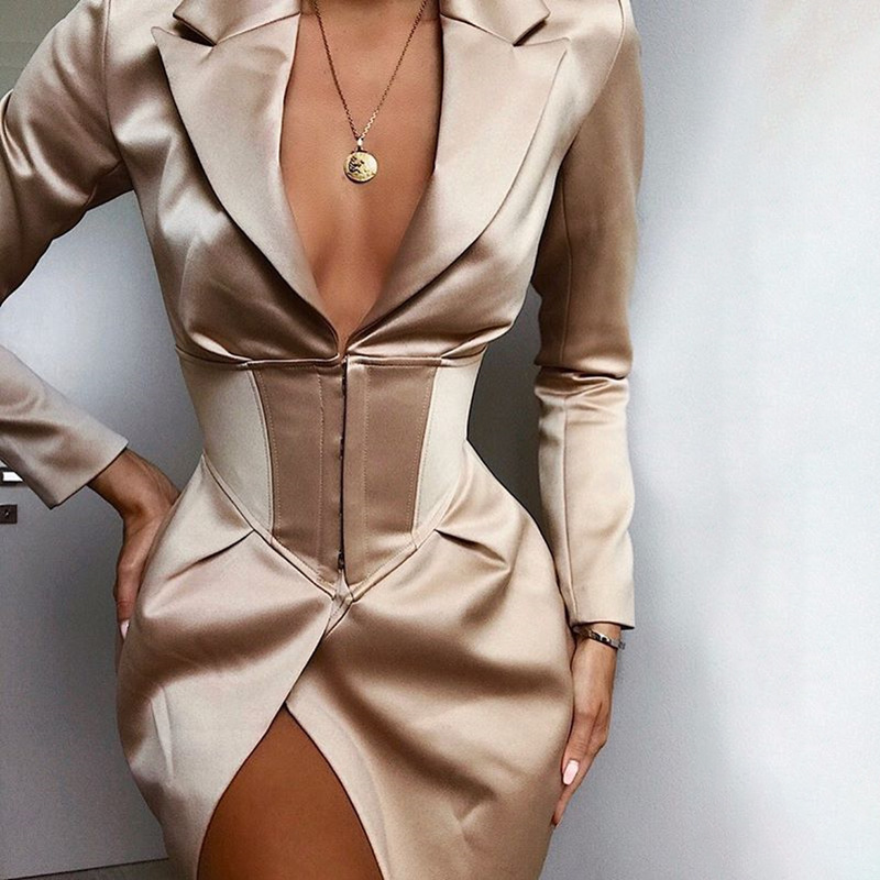 2019 Winter Women Blazers Suit Jacket Coat Sexy Casual Office Ladies Solid Long Sleeve Khaki Suit Blazer For Women Female