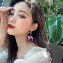 SOHOT – boucles d'oreilles en forme de marguerite pour femmes, série violette INS, pendentif en fleur, bijoux romantiques pour filles, 2020
