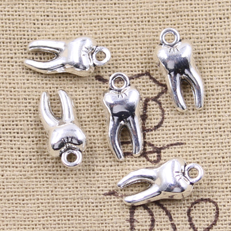 12pcs Charms 3D Zombie Tooth Teeth Molar 16x8x5mm Antique Bronze Silver Color Plated Pendant Making DIY Handmade Tibetan Finding 2