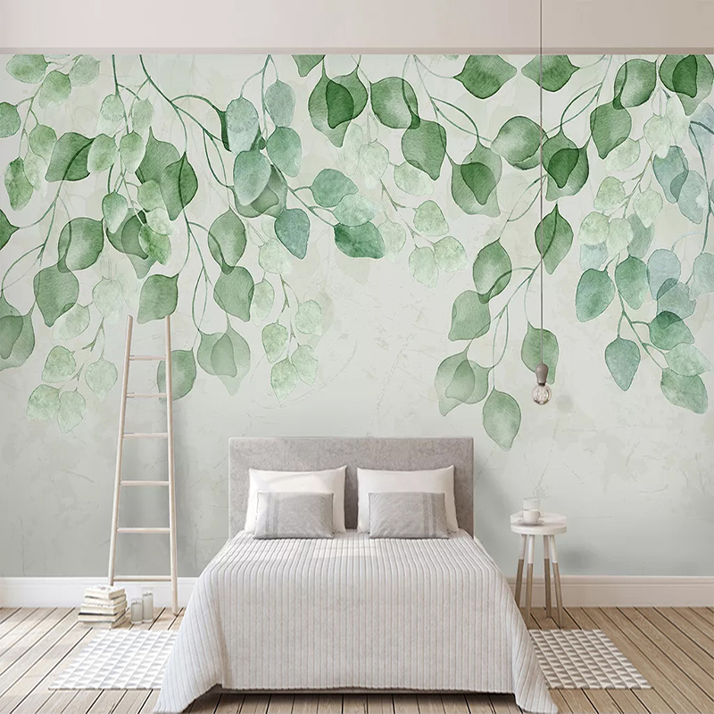 Custom 3D Mural Wallpaper Green Leaf Watercolor Hand Painted Pastoral Living Room Sofa TV Background Wall Painting Wall Decals
