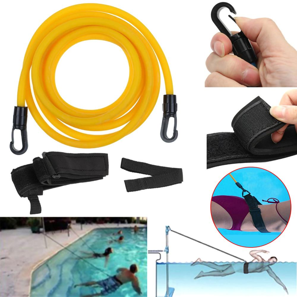 Adjustable Swim Training Resistance Belt Swimming Bungee Exerciser For Adult Kids Leash Mesh Pocket Safety Swimming Pool Tools