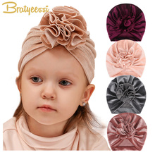 Winter Baby Girl Hat Velvet Flower Turban Kids Beanie for Girls Hats Cap Infant Accessories 14 Colors