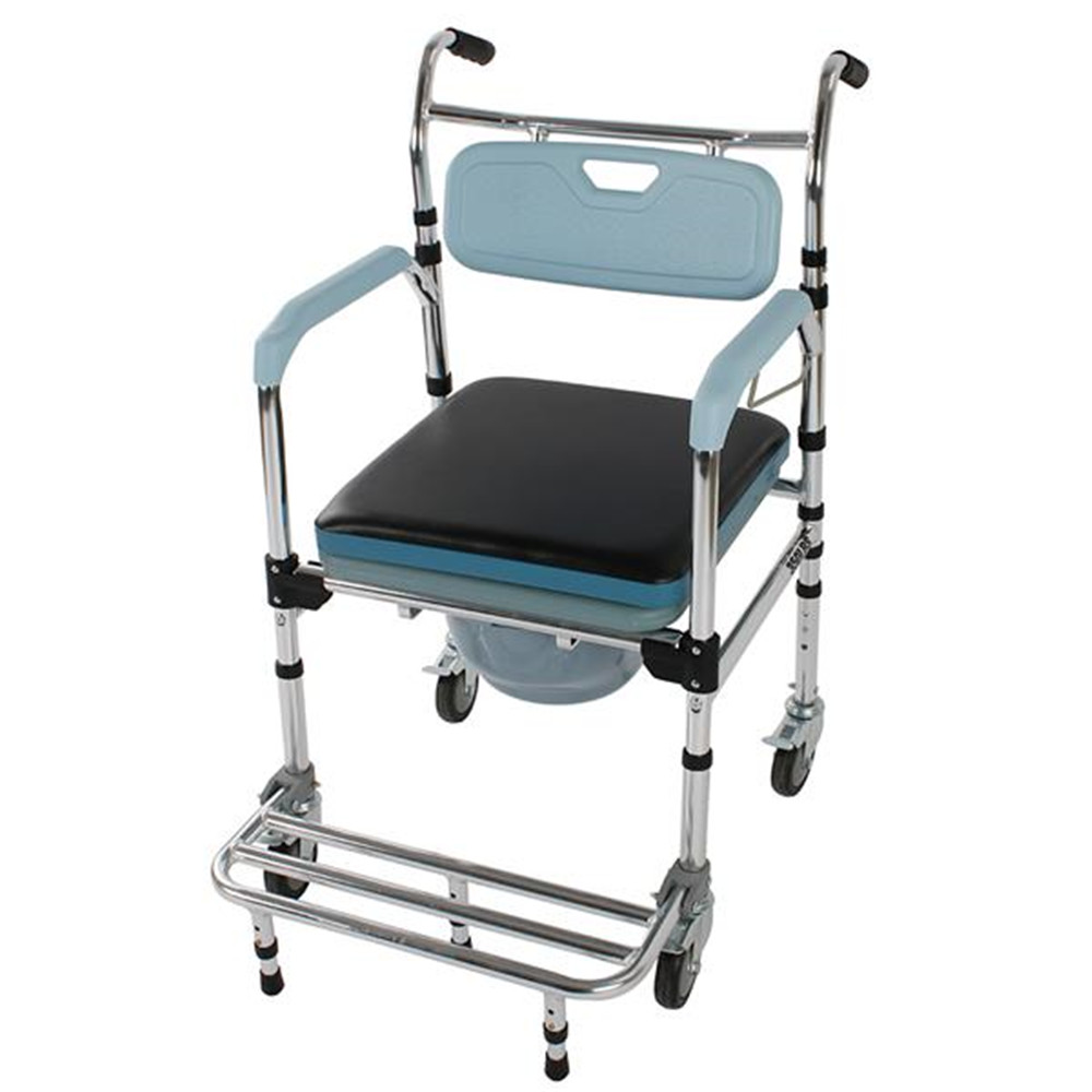 4 in 1 Multifunctional Aluminum Elder People Disabled People Pregnant Women Commode Chair Bath Chair Light Blue|Bathroom Chairs & Stools| |  - title=