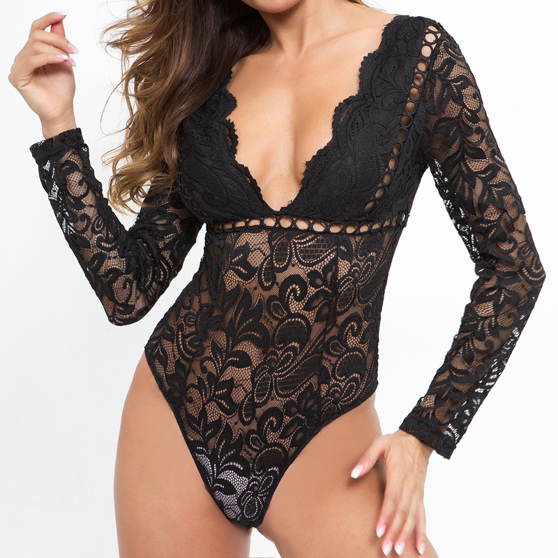 Hollow Out Tops Party Skinny Sexy Rompers Femme Women Black White Lace Bodysuits Femme Summer Body Backless Long Sleeve M0590