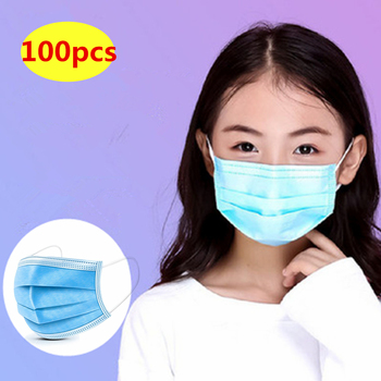 100PCS 3-12Years Child Kids Disposable Face Masks 3 Layer Anti-Dust Pollution Masks Fabric Nonwoven Dustproof Mask 24h Fast Ship