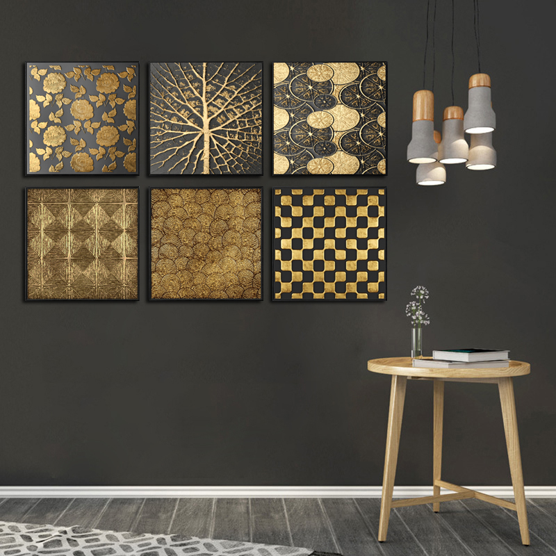 Abstract Gold Tree Rose Flower Black Modern Square Canvas Painting Texture Frames Prints Home Decoration Wall For Living Room