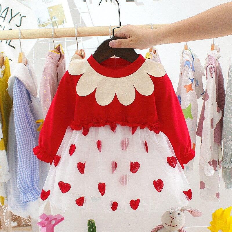 Baumwolle mädchen baby kinder kleid kleid boutique stickerei casual nette liebe neue jahr Weihnachten Thanksgiving clothing6-24