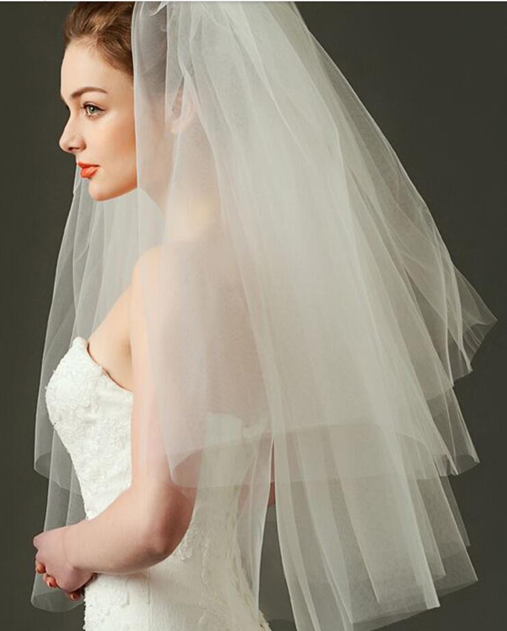Weeding Accessoire Mariage Aplique Para Artesanato White Wedding Veilone Layers Bridal Veil Short Wedding Veil Birdcage Veil