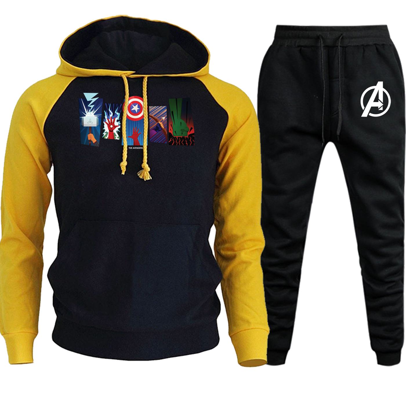 The Avengers Superhero Arms Streetwear Men Hoodie Raglan Autumn Winter 2019 Suit Casual Pullover Hip Hop Hoody+Pants 2 Piece Set