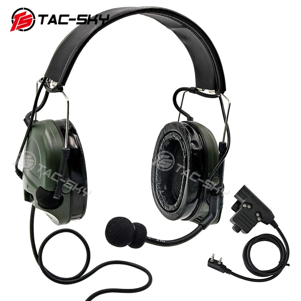 TAC-SKY COMTAC I Silicone Earmuffs Outdoor Hunting Sports Noise Reduction Military Tactical Headphones FG + U94 PTT